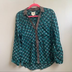 Maeve Anthropologie Green Printed Button Top 8